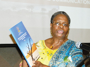 The Minister of Environment and Tourism, Netumbo Nandi-Ndaitwah, launched the National Policy on Climate Change and the second National Communication to the UNFCCC this week. (Photograph by Clemencia Jacobs)
