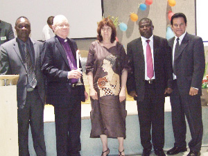 (Left to right) Desk for hostels and kindergartens director, Enegalhardt ≠Unaeb, ELCRN Bishop Zephania Kameeta, with trustees of the Immanuel Trust, Vicky Toivo ya Toivo and Hans Rooi, and president of Hope4kids International, Tom Eggum.