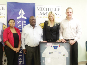 (Left to right) Talita Jario, public relations officer of Metropolitan, Rudolph Himarua, executive retail of Metropolitan, Michelle McLean, founder of Michelle McLean Children Trust and Heinz Koll, Namibian Rugby player (Photograph by Johanna Absalom)
