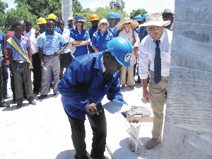The laying of a cornerstone was officiated by the Minister of Education, Dr. Abraham Iyambo. (Photograph contributed)