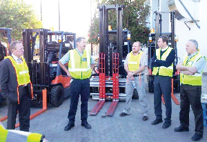 (Left to right) Sven Thieme, NBL chairman, Abrie Du Plooy, logistics manager, Anthony Goosen, national sales manager, Thomas Hochreiter, export/global manager and Hans Bellekes, technical manager in front of the new battery operated forklifts.