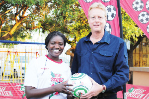 From Left to Right: Margareth Gustavo of Namib Mills and Harald Hecht vice president of Ramblers Football Club.