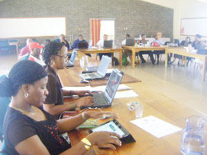 Staff in the Ministry of Information and Communication Technology during a recent workshop to finalise their Decentralisation Action Plan in Mariental. (Photograph by David Adetona)
