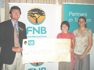 (Left to right) Johannes Brand, president of NAPHA, Sophia Snyman, head of tourism business at FNB and Almut Kronsbein, CEO of NAPHA. (Photograph contributed)