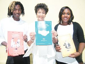 (Left to right) Franklin Munigirua from the Media Institute for Southern Africa, Veronica de Klerk, director of WAD and Faith Chipare from the Media Institute for Southern Africa who participated at the first of 400 training sessions on gender related content. (Photograph by Johanna Absalom)