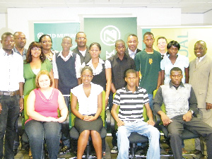 (Front row - left to right): Monique Rickerts, Tjaveondja Chrisnetto, Albert Isak, Nuule Lazarus (Middle row - left to right): Jeremia Kalenga, Revonia Kahivere from Nedbank, Aaron Muyamba, Cardini Roman, Joseph Matombola, Utjavari Kenapeta, Agatha Nerumbu, Tarah Shaanika, member of the board of trustees and chairperson. (Back row) Dr Tangeni Elago, member of the board of trustees, Himeesora Kaimu, chairperson of the selection committee, Erastus Haihambo from Nedbank, Manfred Jatamunua, member of the board of trustees and Donavan Weimers, selection committee member. (Photograph by Johanna Absalom)