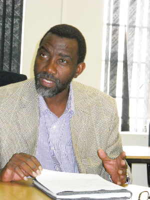 Alfred Angula, general secretary of Namibia Farmworkers Union (Photograph by Johanna Absalom)