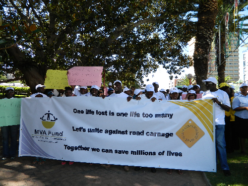"The MVA Fund held a road safety march under the theme ""One life lost is one life too many. Lets unite against road carnage"". The march was spearheaded by the MVA Fund in collaboration with its Xupifa Eemwenyo stakeholders. (Photograph by Lorato Khobetsi)"