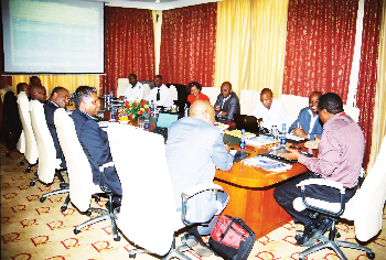 Members of the Joint Fuel Steering Committee and AFRAA Team during a meeting. Present at the table are Mr. Naicker, TAAG Angola Airlines, Mr. Fitwi, Ethiopian Airlines, Mr. Mbugua, Kenya Airways, Eng. Oanda, Kenya Airways, Dr. Chingosho, AFRAA and Mrs. Indetie.