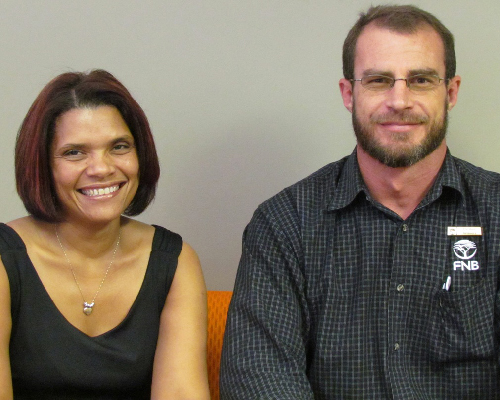 (Left to right) Dawn Humphries, First National Bank manager of corporate communications and Herman Reinders, FNB area manager for the Windhoek Central Area.