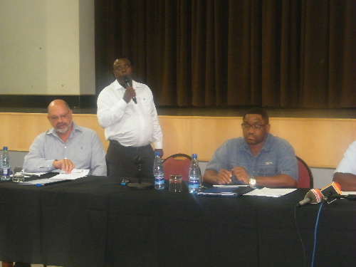 Kobus du Plesis, Gabriel Mbapaha and Oloff Munjamu during the public meeting held in Windhoek this week (Photograph by Johanna Absalom)