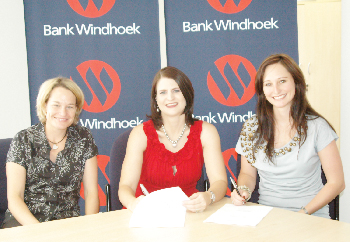 (Left to right) Antje Kesselmann, director of Limelight, Marlize Horn from Bank Windhoek and Gabriela Raith, managing director of Limelight celebrating the launch of the 2012 Bank Windhoek Kidz Fun Fair