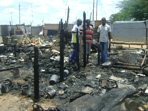 Several families lost all their possessions earlier this week when a fire broke out in a Mariental'squatter camp.