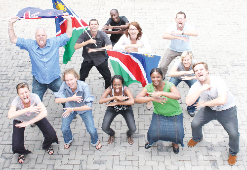The DV8 World Cup team doing the farewell 'haka' for Jerry Shikongo as he heads to New Zealand. DV8 MD, Mark Bongers is the biggest clown on the left with the blue shirt.
