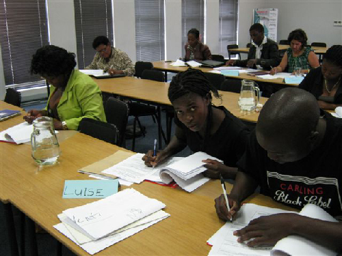 Luise Johannes (middle) of Etemo Trading, one of the 388 entrepreneurs who participated in the training programmes hosted by SMEs Compete during 2011