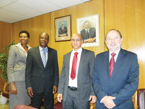 (From left to right) Florentia Amuenje, board member of the Namibia Statistics Agency (NSA), Tom Alweendo, director general of the National Planning Commission, John Steytler, newly appointed CEO of the NSA and Paul Hartman, chairman of the NSA board, at the feedback session of the 4th National Development Plan (NDP4). (Photograph by Lorato Khobetsi)