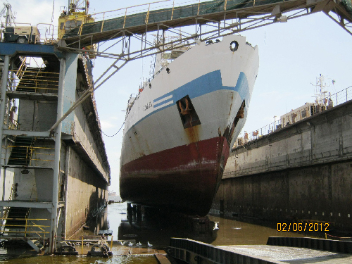 The 4400 tonnes MFV Sunfish high and dry after all water has been pumped from the new dry dock. This Namsov vessel became the first midwater trawler to be serviced in Namdock II.