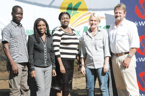 (Left to right) Muchangani Chikusi, agricultural trainer, Kauna Jonas, manager of administration and finance, Nora Ndopu, communication practitioner of stakeholder engagement at Bank Windhoek, Jule Lühl, manager of agricultural training and Johan Gous, project leader. (Photograph contributed)