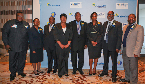 (Left to right) Silvestre Guido Castelbranco, Minister Counsellor of Angola, Doreen Matemba, deputy Ambassador of Zimbabwe, General Duke Lefhoko, High Commissioner of Botswana, Theo M Namases, acting MD of Air Namibia, Erkki Nghimtina, Minister Works and Transport, Lea Namholo, vice-chairperson SW Board, Ambassador Hinyangerua P Asheke, chairman of the SW Board and Digu Naobeb, SW Board Member at the launch of Air Namibia's new routes in the Capital last week.