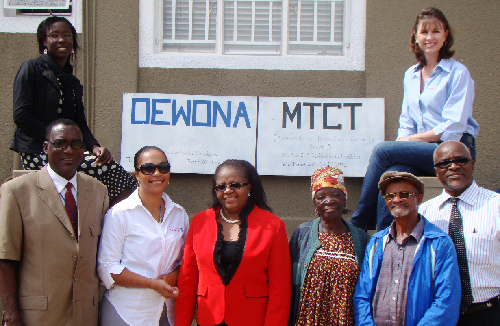 Representatives from Namibia Breweries, Oewona and widows who receive support from the organisation during the hand over. (Photograph contributed)