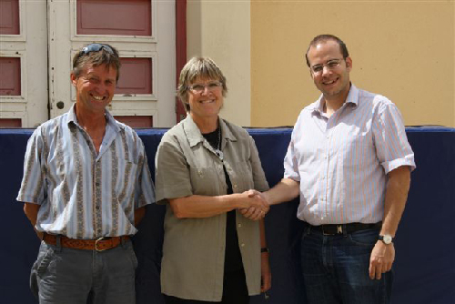 Mrs Annegret Sander (centre), vice-principal of the Namib High School, Mr Seidler (left), sport teacher at the NHS, and Mr Hans-Christian Mahnke (right) cultural desk officer of the German Embassy. (Photograph provided by the German Embassy.)