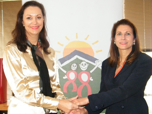 Desèré Lundon-Muller, patron of the trust and Dr Christina Swart-Opperman, founder of the Christina Swart-Opperman AIDS Orphan Foundation Trust. (Photograph by Johanna Absalom)
