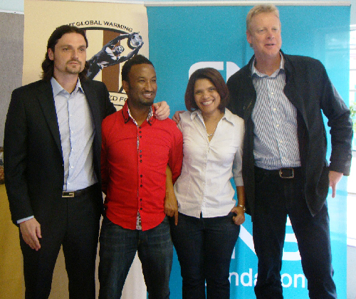 (left to right) Lutz Pfannenstiel, founder and president of Global United, Lolo Goraseb FNB ambassador and trustee of Global United Namibia, Dawn Humphries, communications manager at FNB and Harald Hecht, chairman of Global United Namibia. (Photograph contributed)