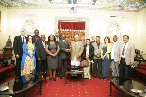 The Namibian delegation on a visit in Nepal, photographed with Nepal's president, Dr Ram Baran Yadav. (middle).(Photograph contributed)