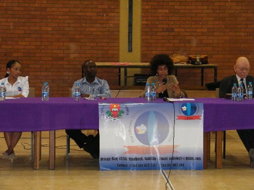 The panelists: Maruschka Afrikaner, sociology student (right) followed by Tangeni Amupadhi, editor of the Namibian newspaper; Shishani, an upcoming artist and student of anthropology in the Netherlands and Bishop Zephania Kameeta. (Photograph by Johanna Ileka)