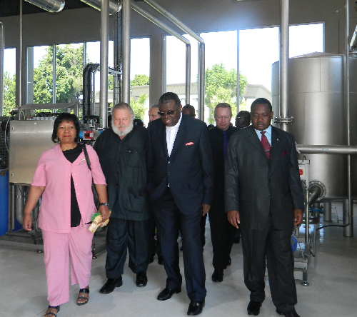 Mayor of Windhoek, Elaine Trepper and Dr Hage Geingob, Minister of Trade and Industry, were amongst the delegation taken for a tour to view NBL's new filtration plant. (Photograph by Lorato Khobetsi)