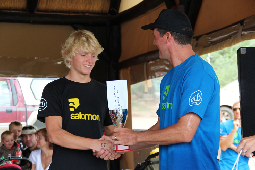 Florian Hentzen receives his prize from the Pointbreak representative, Daneel Van Der Walt.