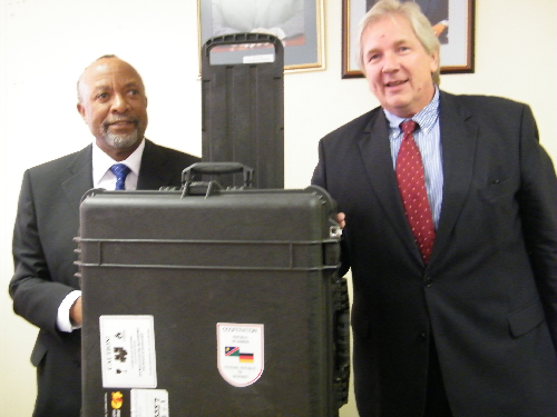 Left to right: Minister of Safety and Security, Nangolo Mbumba with the German ambassador, Egon Kochanke at the handover ceremony of the security equipment on 19 March. (Photograph By Yvonne Amukwaya)