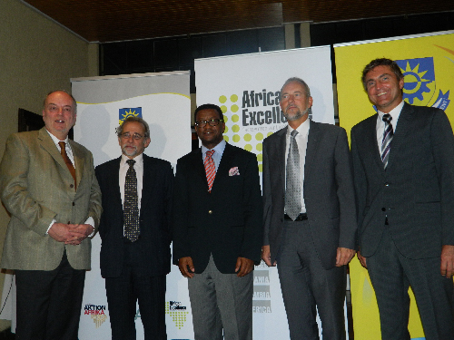 (Left to right) Helmut Blumbach, director of DAAD's department for programmes - southern hemisphere, Chris Savage, deputy director of the Namibian-German Centre for Logistics, Tjama Tjivikua, rector of the Polytechnic of Namibia, Andre Scholz, deputy head of mission of the German embassy and Thomas Schmidt, project director of the Namibian-German Centre for Logistics at the 4th DAAD networking meeting of the African centres. (Photograph by Yvonne Amukwaya)