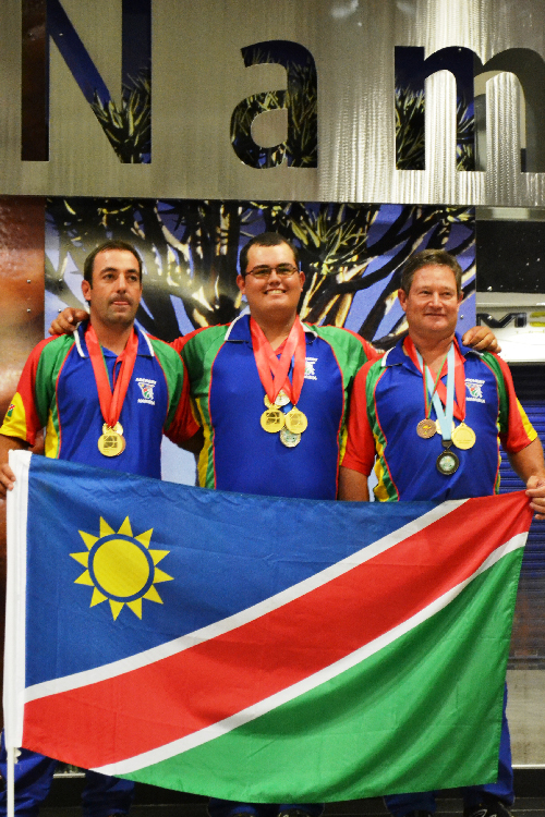 African champions Louw Nel, Francois Marais and Lesley Page.