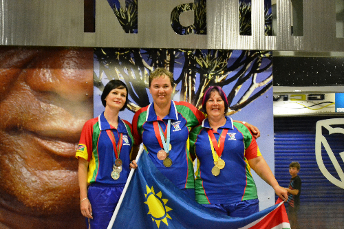 African champions Beatrix van der Merwe, Beanta Viviers and Iroleen von Litzenborgh-Page.