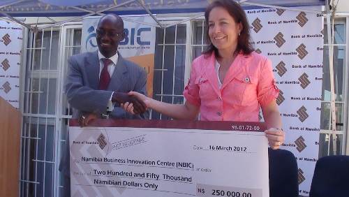 (Left to right): Ndangi Katoma, director: department of Strategic Communications and Financial Sector Development and Dagmar Honsbein, general manager: Namibia Business Innovation Centre.