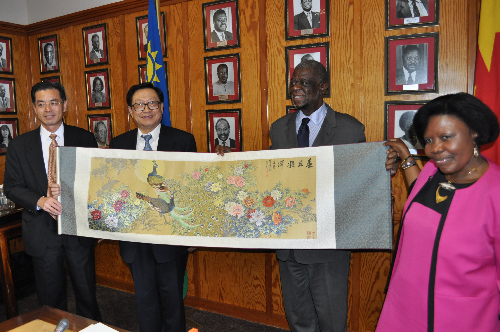 From right to left: Ambassador of China to Namibia H.E. Wei Ruixing; Mr Hua Jianmin, vice-chairman of the National People's Congress of China; Dr Theo-Ben Gurirab, speaker of Parliament and Loide Kasingo, deputy speaker of Parliament. (Photograph contributed)
