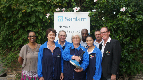 (From left): Angrid Shimuafeni, Sanlam Namibia's marketing and communications manager, Corne Harmse, secretary of the Icestock Association of Namibia, Detlef Pfeifer, president of the Icestock Association of Namibia, Hannah Schmidt, Natashia Cloete, Klause Schubert, vice president of the Icestock Association of Namibia, Wolfgang Grensing and Jessy Mweshipopya. (Photograph contributed)