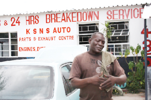 Fatty Nyambe has built his auto business on his solid reputation as a mechanic. With Development Bank funding, he is growing his enterprise to cover more aspects of the auto trade. (Photograph provided by DBN)