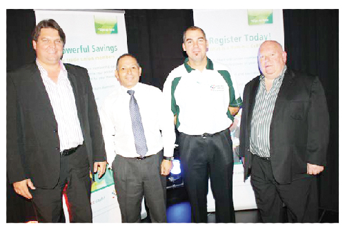(From left to right) Theo Joubert, Director Kineto Mobile; Walter Don, CEO of Nam-mic Financial Services; Abri Krige, Operations Executive of Nam-mic Payment Solutions and Jan Erasmus, Director CellCard Holdings at the launch of the Nam mic Cellcard this week.