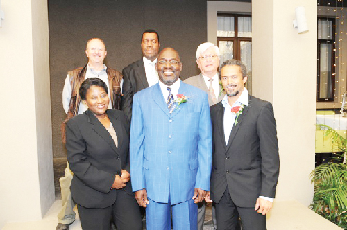 (Left to right): Kauna Ndilula, managing director of the Nampro Fund, Jacobus du Toit, trustee of Nampro Fund, Theo Mberirua, trustee of Nampro Fund, (centre) Tjekero Tweya, Deputy Minister of Trade and Industry, Derek Wright, chairman of the Nampro Fund and Reagon Graig, trustee of Nampro at the launch of the fund's stakeholders report and new website.