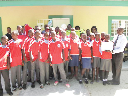 "The Enguwantale Combined School in the Oshana region received N$5000 from the Millennium Challenge Account Namibia (MCA-N) recently as part of the ""MCA-N School Cleanliness Campaign"". (Photograph contributed)"