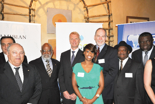 From left to right: Alan Rootenberg, Luis Bastos, Andimba Toivo ya Toivo, Henrick Schroder, Philipine Angula, Colin Kinley, Helmut Angula and Minister of Trade and Industry, Hage Geingob. (Photograph contributed)