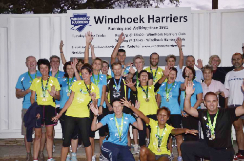 Running remains an ever popular sport amongst Namibians. A group of Windhoek Harriers' runners proudly display their medals after returning from the Two Oceans ultra-marathon in Cape Town. Wind and icy rain did not deter the runners to complete the distance of 56km.