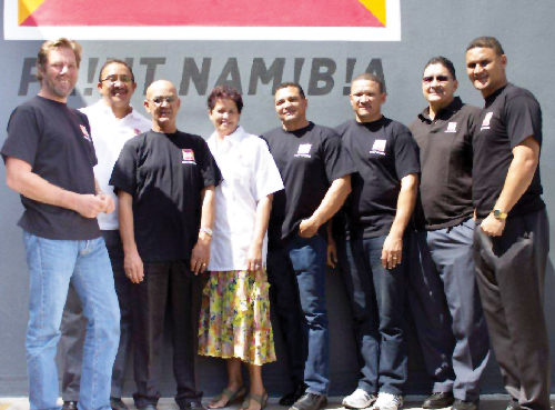 (From left to right):MD of Neo Paints, Heiko Niedermeier, Frank Isaacs of NEO Paints Reho Falcons, George Rhodes, Ronnie De Waal, Cliff Loubscher, Tai Isaacs, Stanford Isaacs and Shaun van Rooi at the official signing of the sponsorship this week.