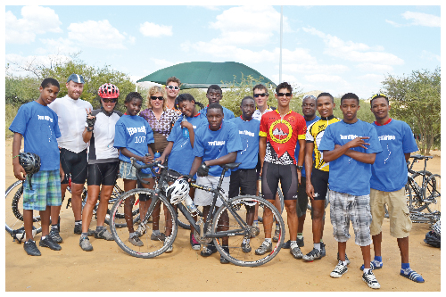 Cyclists in the Tour d'Afrique from Cairo to Cape Town were welcomed to Windhoek on Wednesday by members of the Physically Active Youth (PAY) cycling team. The two groups of cyclists met at Arebbusch Lodge before the mad adventurers continued on their epic journey. (Photograph by Hugh Ellis)