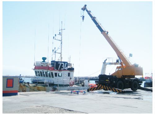 A fishing trawler unloads its cargo at the premises of Seaworks in Walvis Bay. The fish festival promises to give companies such as Seaworks a platform to promote their products. (Photograph by Clemencia Jacobs)