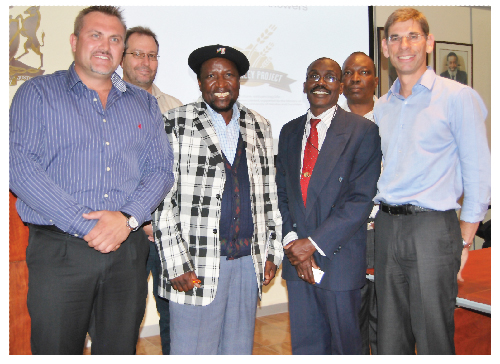 left to right: Wessie van der Westhuizen, managing director of NBL, Christian Müller, brew master at NBL, Hon Petrus Iilonga, deputy Minister of the Ministry of Agriculture, Water and Forestry, S. Ipinge, director of research at the Ministry of Agriculture, Water and Forestry, Gideon Shilongo, NBL's manager of corporate affairs and Martin Kraft, project manager of Ohlthaver & List.