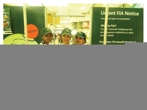 Nedbank Girls, Jennifer, Charlene and Charmaine assisting customers on the FIA