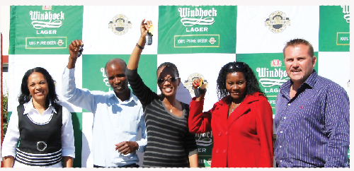 :(left to right) Jacquiline Pack, brand manager of NBL: Windhoek Trade Market, Tangeni Shafaixuna Malakia (winner), Dephnit Shikongo (winner), Esther Ashipala (winner) and Wessie van der Westhuizen, managing director of NBL, at the prize hand over ceremony.
